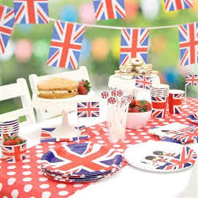 Afternoon tea with union jack bunting and plates